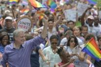 Il sindaco di New York Bill de Blasio al Gay Pride