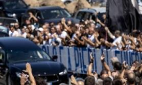 Roman salutes as Lazio ultra coffin arrives