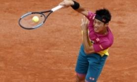 Roland Garros: Kei Nishikori in azione