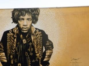 Jimi Hendrix in un murales di Levi Ponce a North Hollywood