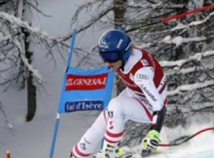 Sci: Cdm, Christine Scheyer durante SuperG in Francia